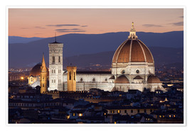 Premium poster  Duomo at night from Piazza Michelangelo, Florence, UNESCO World Heritage Site, Tuscany, Italy, Europ - Stuart Black