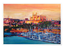 Poster Spain Balearic Island Palma de Mallorca with Harbour and Cathedral