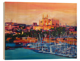Wood print  Spain Balearic Island Palma de Mallorca with Harbour and Cathedral - M. Bleichner