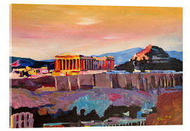 Acrylic glass  Athens Greece Acropolis At Sunset - M. Bleichner
