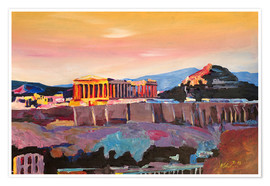 Premium poster  Athens Greece Acropolis At Sunset - M. Bleichner