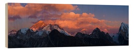 Wood print  Sunrise over Tibet