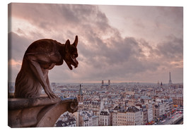 Canvas  A gargoyle on Notre Dame de Paris cathedral looks over the city, Paris, France, Europe - Julian Elliott
