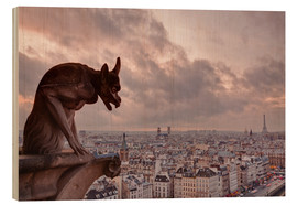 Wood print  A gargoyle on Notre Dame - Julian Elliott