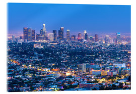 Acrylic glass  Cityscape of the Los Angeles skyline at dusk, Los Angeles, California, United States of America, Nor - Chris Hepburn