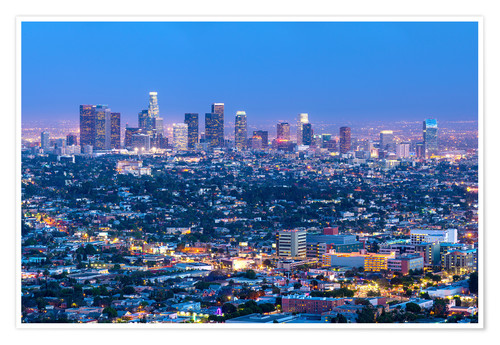 Premium poster Cityscape of the Los Angeles skyline at dusk, Los Angeles, California, United States of America, Nor