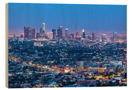 Wood print  Cityscape of the Los Angeles skyline at dusk, Los Angeles, California, United States of America, Nor - Chris Hepburn