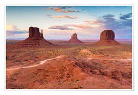 Premium poster Monument Valley at dusk