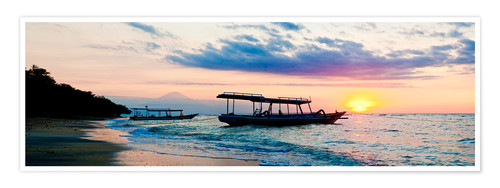 Premium poster Mount Agung on Bali and fishing boats silhouetted against a sunset, Gili Trawangan, Gili Isles, Indo