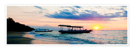 Premium poster  Mount Agung on Bali and fishing boats silhouetted against a sunset, Gili Trawangan, Gili Isles, Indo - Matthew Williams-Ellis
