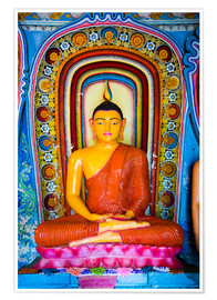 Poster Colourful Buddha statue at Isurumuniya Vihara, Anuradhapura, UNESCO World Heritage Site, Sri Lanka,A