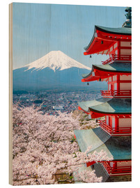 Wood  Chureito Pagoda with Fuji and cherry blossoms - Jan Christopher Becke