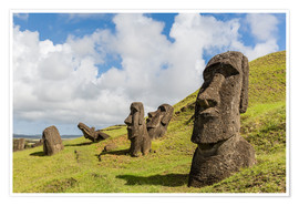 Premium poster Moai sculptures at Rano Raraku
