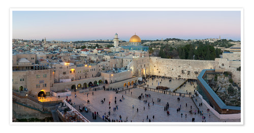 Premium poster Jerusalem with Wailing Wall