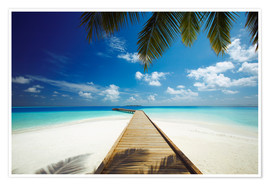 Poster Wooden jetty out to tropical sea