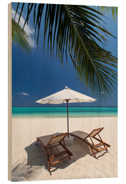 Wood  Lounge chairs on tropical beach - Sakis Papadopoulos