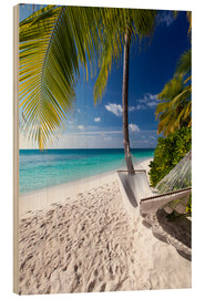 Wood print  Hammock on tropical beach - Sakis Papadopoulos