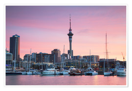 Premium poster  Viaduct Harbour and Sky Tower, Auckland - Ian Trower