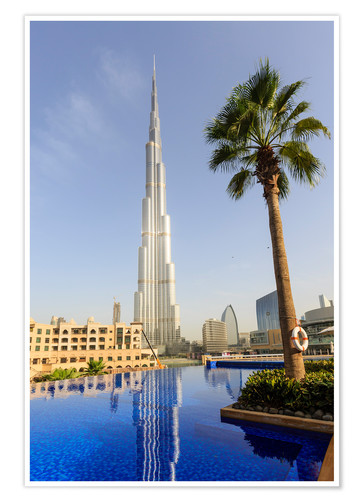 Premium poster Pool and Burj Khalifa