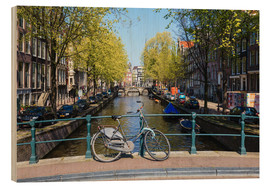 Wood print  Amsterdam waterway - Amanda Hall
