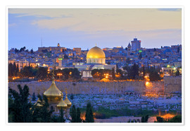 Premium poster Jerusalem with Dome of the Rock
