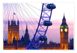 Premium poster  London Eye & Houses of Parliament - Neil Farrin