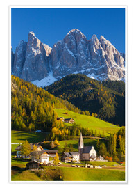 Premium poster St. Magdalena, Val di Funes, Trentino-Alto Adige, Dolomites, South Tyrol, Italy, Europe