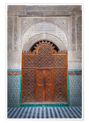 Premium poster Door of the Medersa Bou Inania, Fes
