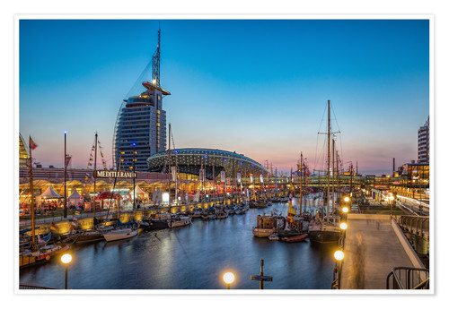 Premium poster Sail 2015 Klimahaus - Havenwelten Bremerhaven at night
