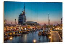 Wood print  Sail 2015 Klimahaus - Havenwelten Bremerhaven at night - Rainer Ganske