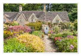 Premium poster Romantic Cottage garden in the Cotswolds (England)