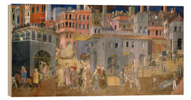 Wood print  Effects of Good Government in the city - Ambrogio Lorenzetti