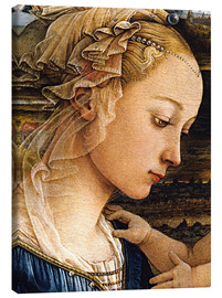 Canvas  Madonna and Child with Two Angels (detail face) - Fra Filippo Lippi
