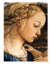 Premium poster  Madonna and Child with Two Angels (detail face) - Fra Filippo Lippi