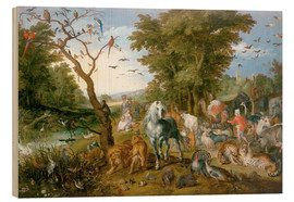 Wood print  Noah leads the animals into the ark - Jan Brueghel d.Ä.