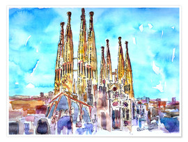 Premium poster Turquoise sky over the Sagrada Familia