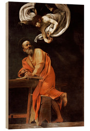 Wood print  The Inspiration of St. Matthew - Michelangelo Merisi (Caravaggio)