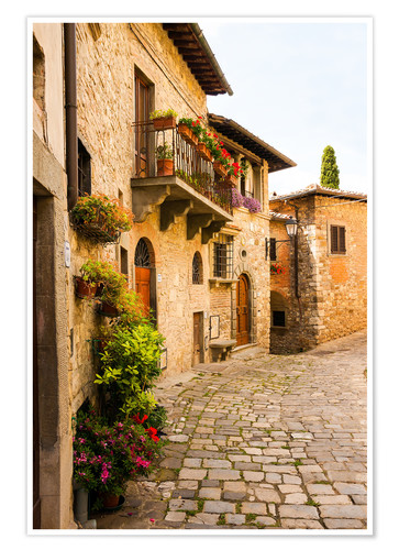 Poster Montefioralle - Mediterranean alley in Tuscany