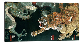 Aluminium print  A dragon and two tigers - Utagawa Sadahide