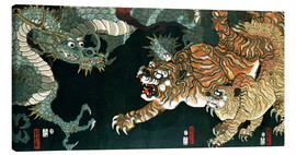 Canvas print  A dragon and two tigers - Utagawa Sadahide