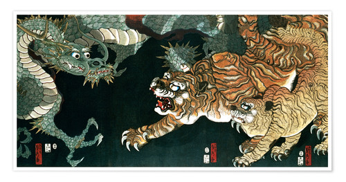 Premium poster A dragon and two tigers