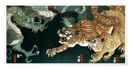 Poster  A dragon and two tigers - Utagawa Sadahide