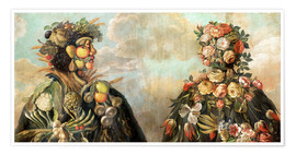 Poster  A anthropomorphosic profile of a man and a woman - Giuseppe Arcimboldo
