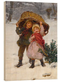 Wood print  Christmas time - Frederick Morgan