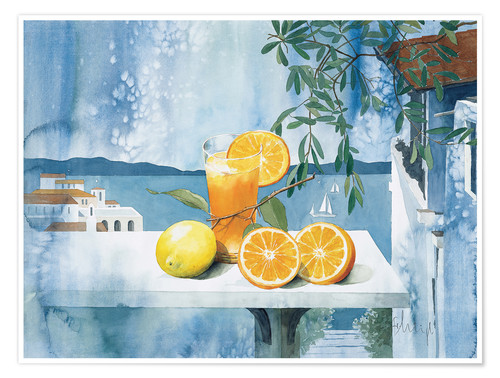 Poster Glass with oranges
