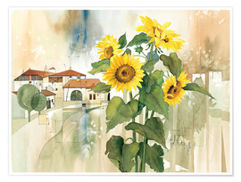 Premium poster Sunflower greetings