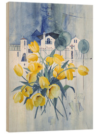Wood print  View with tulips - Franz Heigl