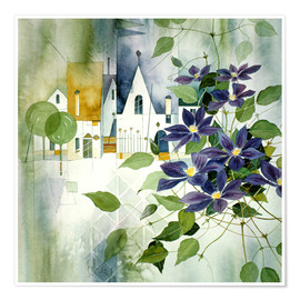 Premium poster Rural impression with clematis