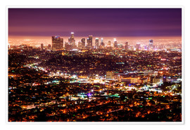 Premium poster  Los Angeles at night - Daniel Heine