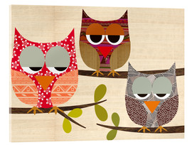 Acrylic print  Owls on wood Collage - GreenNest